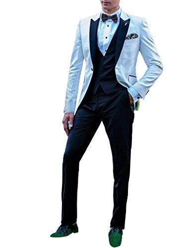 Suit Me 3 pezzi vestito dell'ufficio di affari del vestito dello Abito Abiti Smoking da uomo per matrimoni partito pantaloni giacche gilet bianco2