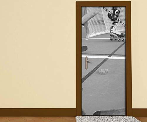 Türaufkleber schwarz weiß Rollschuhlaufen Sport Spiel Rollschuh Tür Aufkleber Bild Türposter Türfolie Druck selbstklebend 15B1230, Türgrösse:90cmx200cm