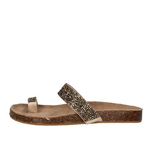 BIBI LOU sandali donna bronzo tessuto strass AF894 (38 EU)