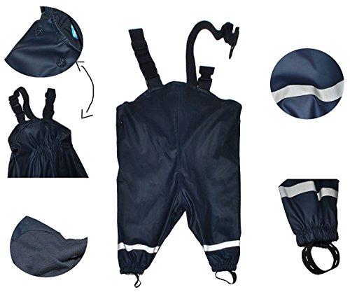 Matschhose / Regenhose - Gr. 122 - 128 - für Kinder von 6 Jahre bis 7 Jahre - gefüttert mit 100 % Baumwolle - dunkelblau für Kind - Regenhosen - Matschhosen Regen Mädchen Jungen / Regenlatzhose Latzhose - Matschanzug