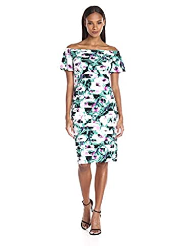 London Times Women's Plus Size Off the Shoulder Printed Matte Jersey Shuttered Sheath Dress, Multi,