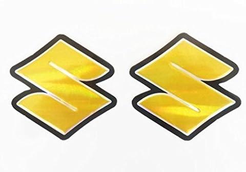 3D gold / chrome SUZUKI #3 stickers decals - set of 2 pieces