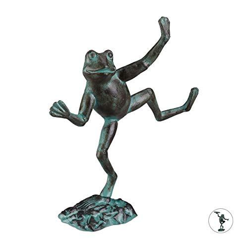 Relaxdays Gartenfigur Frosch, wetterfest, innen & außen, Balkon, Terrasse, am Teich, Dekofigur, Gusseisen, Größe L, grün