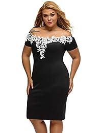 2667ae85a49a6 Dumeisa Vestido de Encaje con Encaje de Crochet Negro y Talla Grande para  Mujer