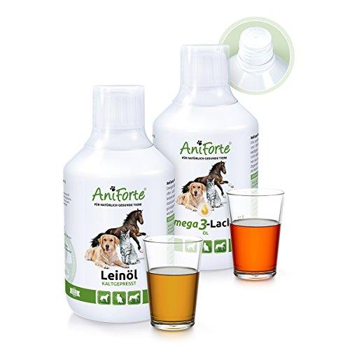 aniforte-barf-ol-set-2-mit-je-500ml-leinol-und-lachsol-naturprodukt-fur-hunde-und-katzen
