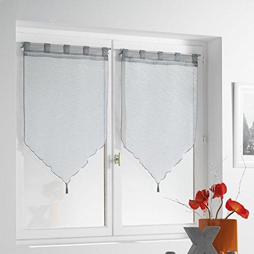 Douceur d'Intérieur Paire Pompon Voile Sable Lissea Polyester Gris 120 x 90 x 120 cm