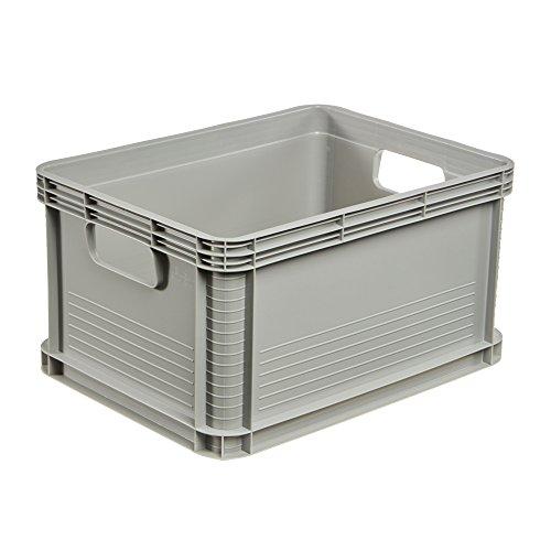Aufbewahrungsbox Kunststoff (keeeper Stabile Transportbox, Säurebeständig und Lebensmittelecht, 40 x 30 x 22 cm, 20 l, Robert, Hellgrau)