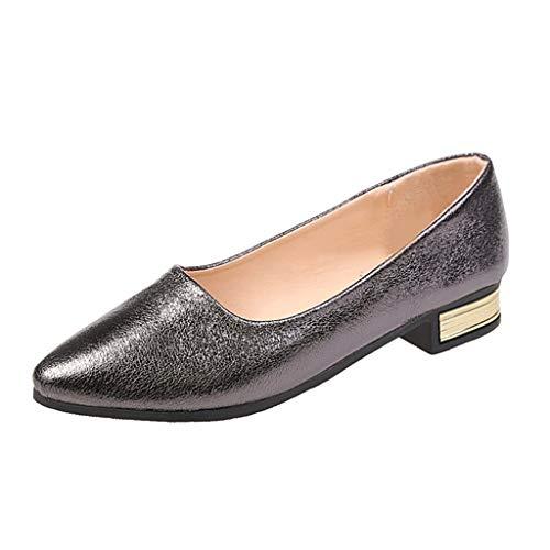 Dasongff Einzelne Schuhe Pointed Toe Mary Jane Slipper Halbschuhe Bling Glänzend (Mary Glitter Rote Janes)