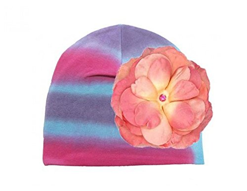 Blue Pink Purple Tie Dye Hat with Candy Pink Rose, Size: 4-6y (Blue Baby Tie-dye)