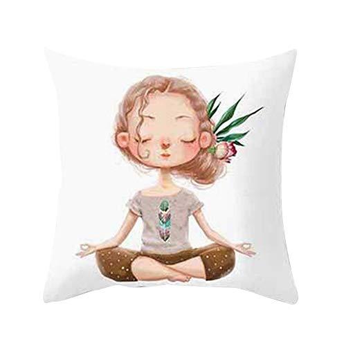 Fundas de cojín, TWBB Yoga MeditacióN Almohada Cubierta DecoracióN Sofá De DiseñO, Cama, Silla...