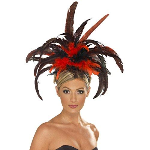 NET TOYS Burlesque Kopfschmuck schwarz-rot Rio Feder Haarband Can Can Showgirl Federhut Tänzerin Federnschmuck Kopfband Brasilien Haarschmuck