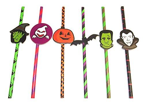 12 x Trinkhalme Halloween gruseliges Design, ideal für Partys (Gruselig-designs Für Halloween)
