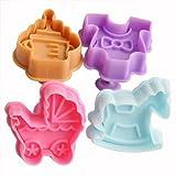 1 Set -- 4tlg. Cutters Baby-Spielzeug Ausstecher Ausstechformen F. Marzipan Fondant Torten Tortendeko Kuchen Backen