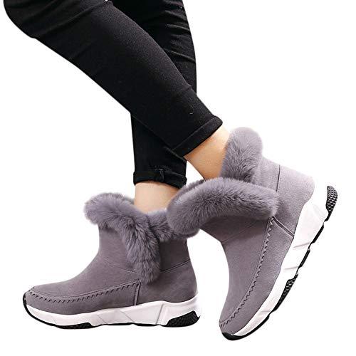 Uomogo stivaletti da donna stivali invernali da neve caldi scarpe zeppa platform warm lined casual pull on boots moda flats warm shoes