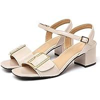 c1759c91 MUMA Zapatos de tacón Sandalias De Roma Mujer Verano 2018 Nuevo Color  Blanco Negro Mediano Con