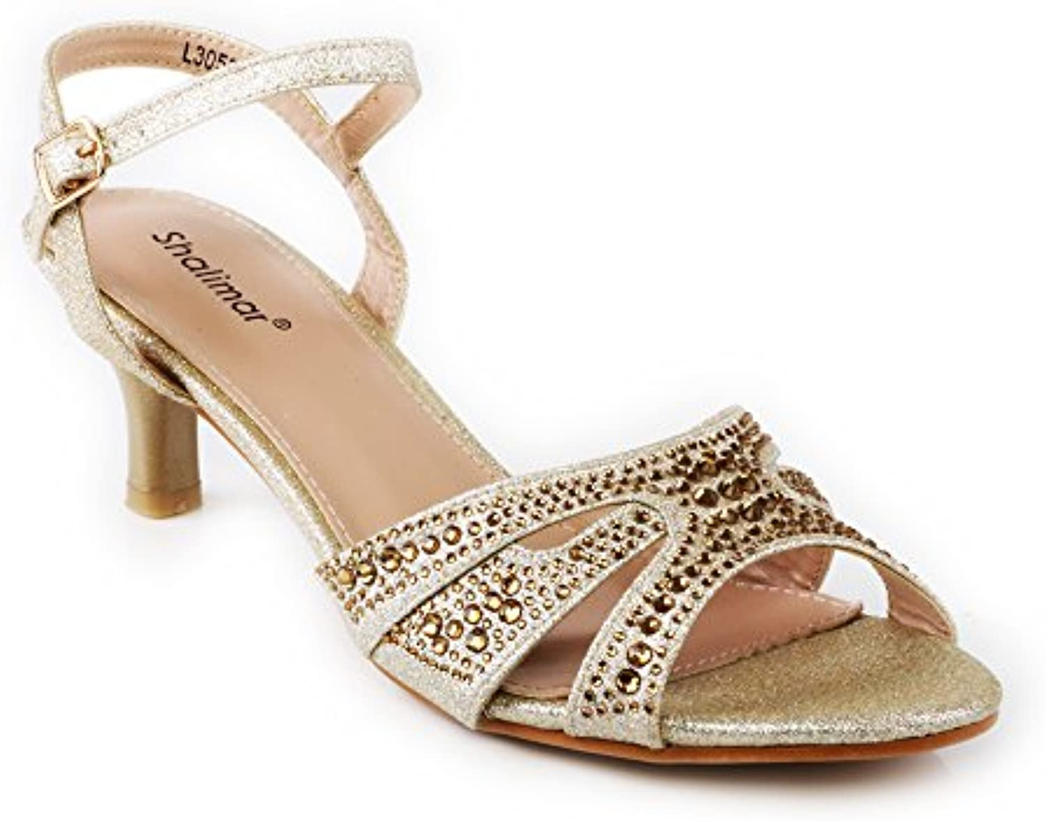 61b9d4a7371 Womens nhta-29975 Ladies Evening Shoes Kitten Heel Open Open Silver... Toe  Buckled Everyday Casual Comfortable Sandals (Gold
