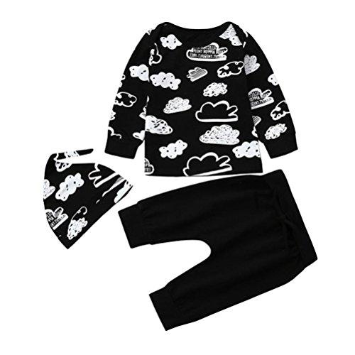 Yanhoo Kinderkleidung, Baby Niedlich Cloud Graffiti Baumwolle Kurzarm Langarm Top + Hosen + Hut Drei Stück Täglich Oberteile Schlafrock Set (Langarm, 70)