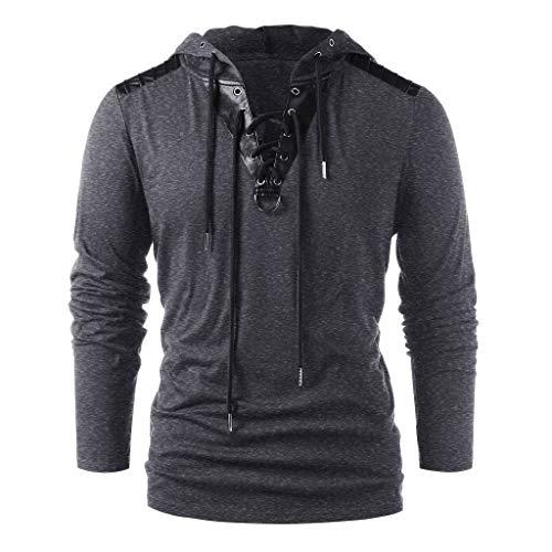 Xmiral Herren Kapuzenoberteile Kordelzug Vintage Leder Patchwork Langarm Sweatshirt Tops Pullover(XL,Dunkelgrau)