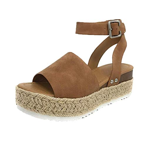 Casual Orthopädische Schuhe Frauen,Plateau Keilabsatz-Riemchensandalen Gummisohle-Knöchelriemen Open Toe Sandalen Nieten Keilschnalle URIBAKY