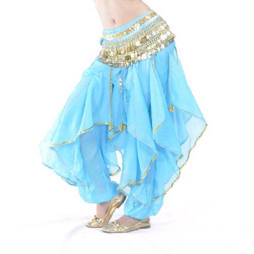 BellyLady Belly Dance Harem Pants Tribal Chiffon Hose, Valentinstag-Geschenk-Idee - See blau (Dance Pants Belly)