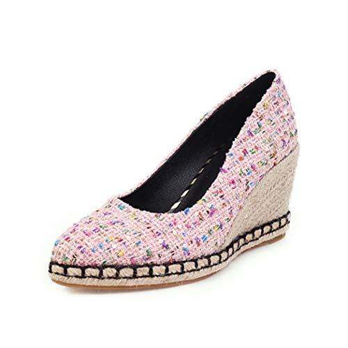 Zapatos de tacón de cuña para Mujer 8 CM Slip de Microfibra a Cuadros de Colores Mixtos en Alpargatas...