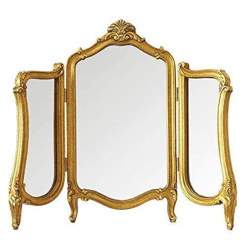 Cqing Rustikaler dreifach gefalteter Kosmetikspiegel mit Beinen, Holz geschnitzt, gerahmtes Dekor, antike goldene Tischplatte, Kosmetik- und Schminkspiegel für Schlafzimmer, 23 × 31 Zoll -