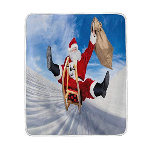 Use7 Home Decor Weihnachtsmann auf seinem Schlitten, Blaue Himmeldecke, weiche warme Decken für Bett Couch Sofa, leicht, Reisen, Camping, 127 cm x 152,4 cm, Überwurfgröße für Kinder Jungen und Frauen -