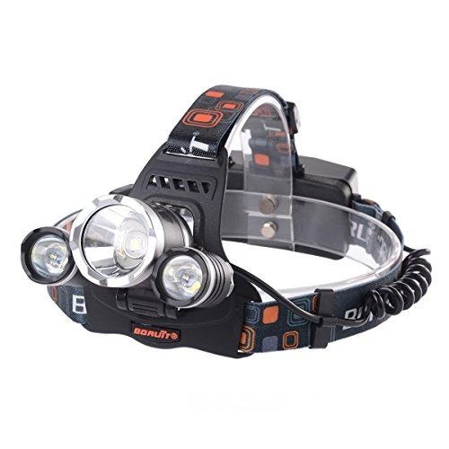 Lospu HY® 3x CREE XM-L T6 LED Fokus-Scheinwerfer-Scheinwerfer Stirnlampe Licht-Lampen-nachladbare wasserdichte 4000Lm Fahrrad-Licht-Kopf-Licht-Scheinwerfer-Taschenlampe Licht vorne Berg