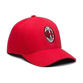 A.C. Milan Verstellbarer Snapback-Hut, gebogen, Fußballhut, FIL90136, rot, Einheitsgröße