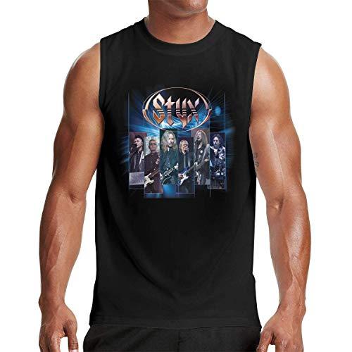 Heyuanqinkeji Styx Men Cotton Sleeveless Crewneck Tank Top T Shirt,Black,M -