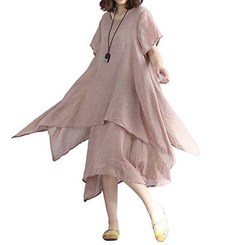 iLPM5 Frau 2019 Mode Kurze ÄRmel BettwäSche Aus Baumwolle Midi-Kleid O Neck UnregelmäßIges FließEn Geschichtet Damen Freizeitkleid(Beige,L)