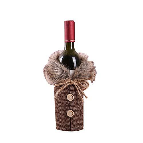 henabdeckung, weihnachtliches Design, modisch, mit Knöpfen, Mini-Mantel für Weinflaschen, Party-Dekoration, Grau ()