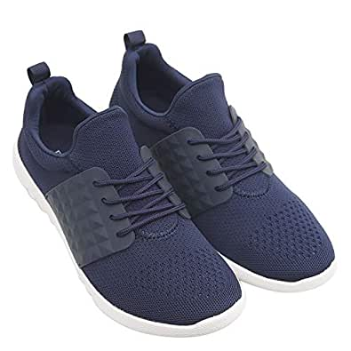 ROSSO BRUNELLO Men's Navy Sneakers Running Shoes