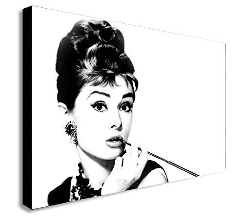 Audrey Hepburn Leinwand Schwarz und Weiß Kunstdruck , holz, schwarz / weiß, A1 32x24 inches