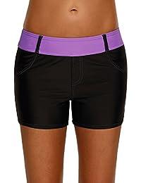 Shorts De Bain Uni Femme Bas De Maillot De Bain Classique Shorty Multiusage Avec Cordon De Serrage