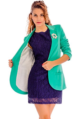 Ladies Blazers For Women Long - Sleeve Womens Boyfriend Blazer - Smart Casual Fitted Suits Jackets For Work Office With Flawless Polka-Dot Lining In Size 8 Teal