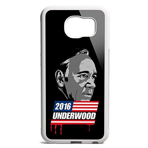 Smartcover Case Underwood 2016 z.B. für Iphone 5 / 5S, Iphone 6 / 6S, Samsung S6 und S6 EDGE mit griffigem Gummirand und coolem Print, Smartphone Hülle:Samsung S6 EDGE weiss Samsung S6 EDGE weiss