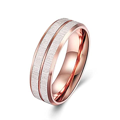 SanJiu Jewelry Unisex Wedding Rings Round Gold Plated Ring Stripe Promise Anniversary Engagement Friendship Charm Ring for Women and Men Rose Gold Size R 1/2