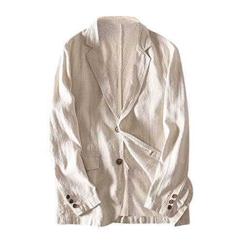 Xmiral Herren Dünn Anzüge Blazer Umlegekragen Knopf Einfarbig Jacke Outwear mit Tasche Slim Fit Formal Geschäft Arbeitsplätze Mantel(a Khaki,M) -