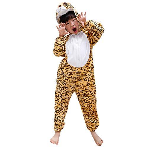 LPATTERN Baby/Kinder Jungen/Mädchen Cosplay Overall Tierkostüm Bühne Kleidung Spiel Kostüm Cartoon Jumpsuit mit Kapuze- Tier Motiv Kinderkostüm, Leopard Tiger, 152( Label:160CM)