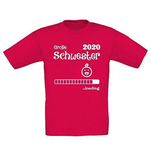 Shirtdepartment - Kinder T-Shirt - Gorße Schwester Loading 2020, 122-128, Fuchsia-Weiss - Weißer Text Ärmelloses T-shirt