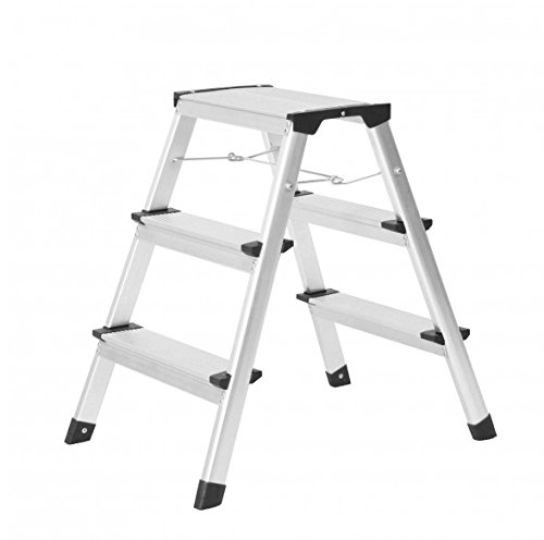 Aluminium-Klapptritt 3 Stufen bekannter Discounter Leiter Tritt 2x3 Stufen 150kg