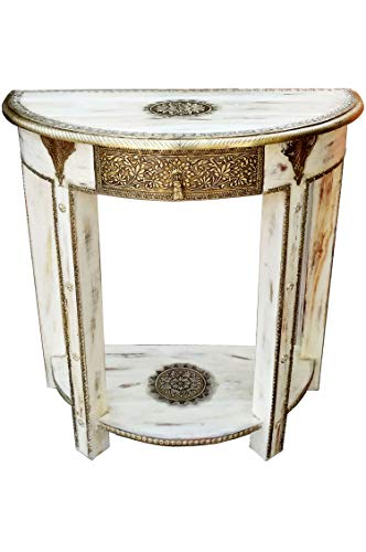 Orientalische Konsole Sideboard schmal Kalinda Weiss Goldfarbig | Orient Vintage Konsolentisch orientalisch handverziert | Landhaus Anrichte aus Holz massiv | Asiatische Deko Möbel aus Indien