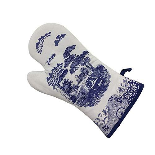 36 Einzel -, (2 X Klassisch Blau Italienische Blumen Blau Weiß Einzel Ofen Handschuh 18 X 36CM)