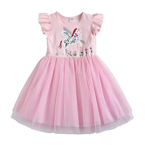 e Ärmel Blume Stickerei Baumwolle Sommer Kleid EINWEG SH4541 3T ()