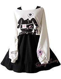 Kawaii Conejo Vestido Estampado 2 Piezas para niñas 2018 nuevos Vestidos