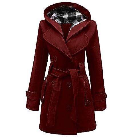 Ladies Women Lady Hooded Coat Jacket Top With Belt Option Size UK 8-20 (12, wine)
