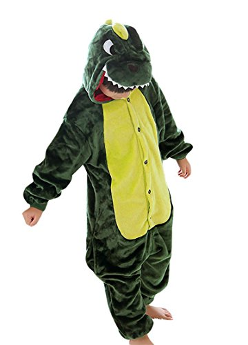 Minetom Kinder Einhorn Karikatur Tier Pyjama Halloween Karneval Fasching Kostüm Unisex Erwachsene Schlafanzug Jumpsuit Cosplay Dinosaurier Grün M(105-115CM)