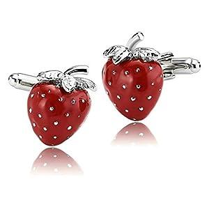 AnazoZ Schmuck Edelstahl Herren Manschettenknöpfe Romantik Erdbeere Obst Rot, Manschetten Knöpfe für Männer