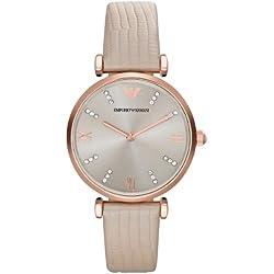 Emporio Armani AR1681 Women's Quartz Analogue Watch-Beige Leather Strap